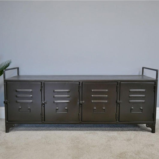 Narrow Black Metal Hallway Bench Seat Cabinet Industrial Style Candle and Blue Interiors