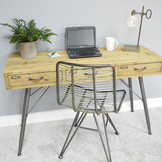 Narrow Industrial Style Wooden Desk 3 Drawers console table Candle and Blue Interiors