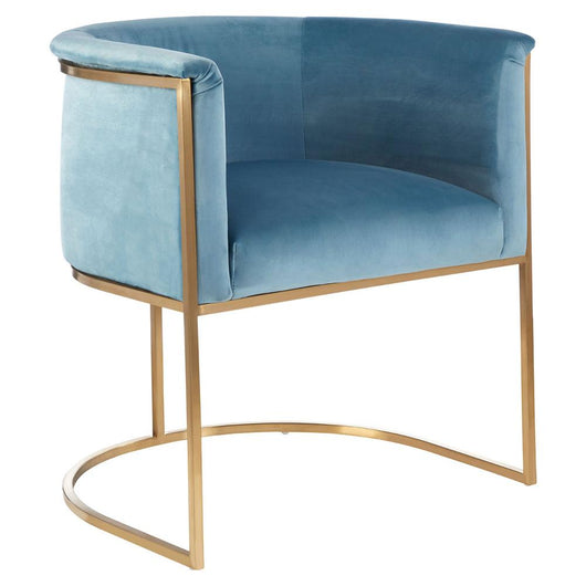 Occasional Blue Velvet Accent Armchair Armchair Candle and Blue Interiors