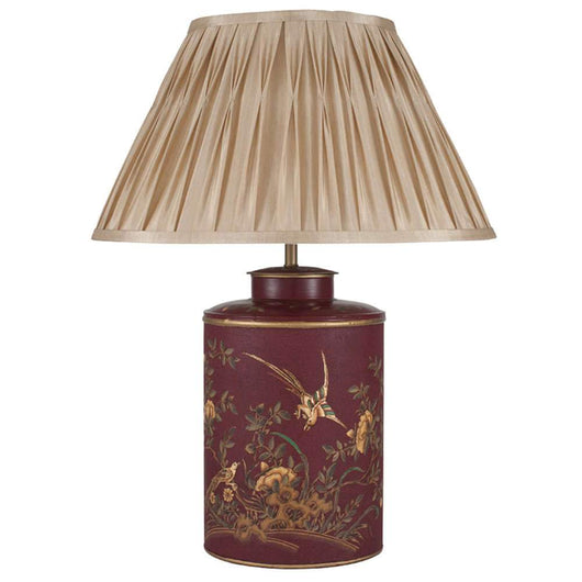 Oriental Style Red Gold Bird Hand Painted Lamp Lighting Candle and Blue