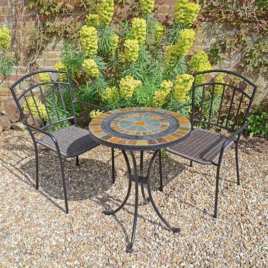 Outdoor Garden Dining Set For 2 People - Villena Garden Furniture Candle and Blue Interiors