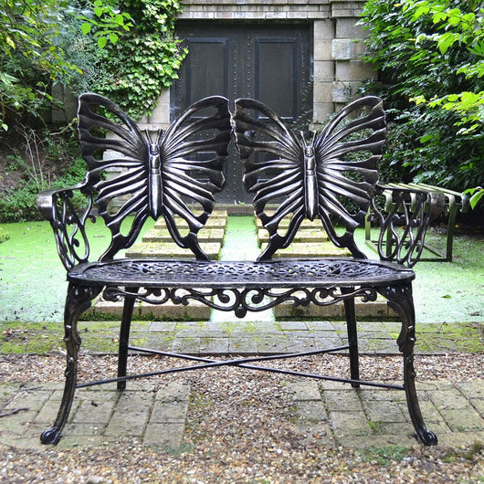 Outdoor Metal Garden Bench Butterfly Suffolk Garden Furniture Candle and Blue Interiors