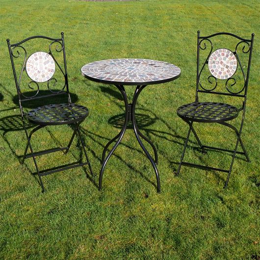 Outdoor Small Patio Mosaic Furniture 3 Piece Set - Tobago Garden Furniture Candle and Blue Interiors