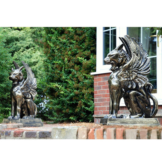 Pair Cat Lion Garden Metal Sculptures Garden Sculptures Candle and Blue Interiors
