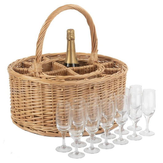 Picnic Willow Wine and Glass Carrier Basket Picnic Baskets Candle and Blue Interiors