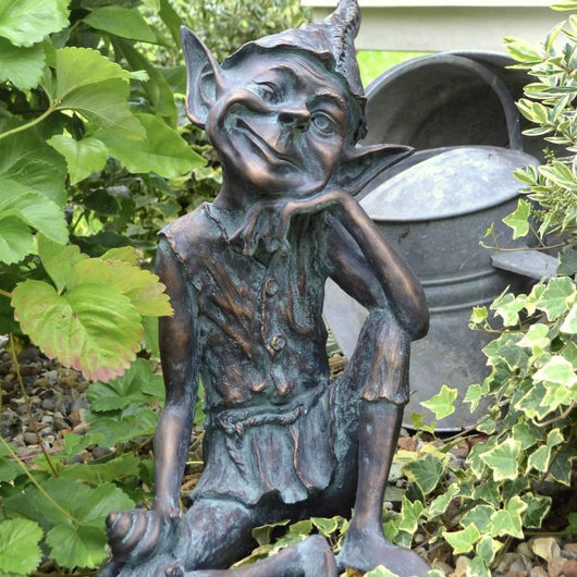 Pixie Sitting Garden Ornament Garden Sculptures Candle and Blue