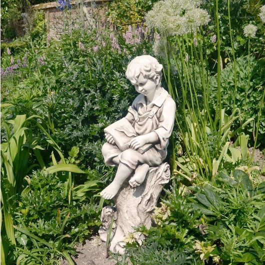 Reading Boy Statue Harry Stone Effect Garden Sculptures Candle and Blue