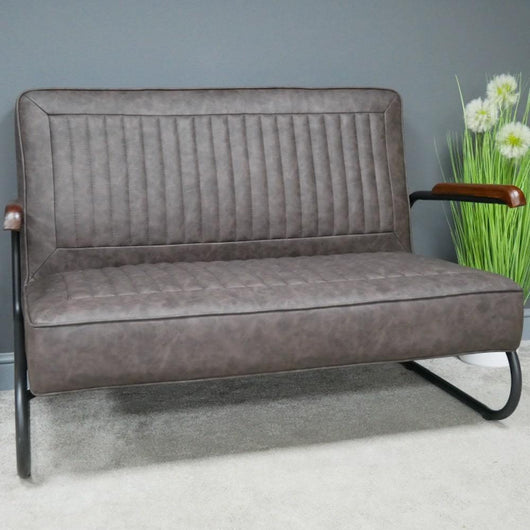 Retro Industrial Style Grey Faux Leather Sofa Accent Chairs Candle and Blue Interiors
