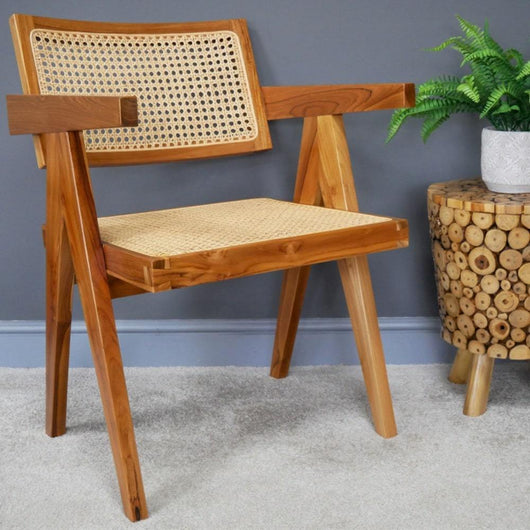 Retro Teak Wood Chair Accent Chairs Candle and Blue Interiors Natural