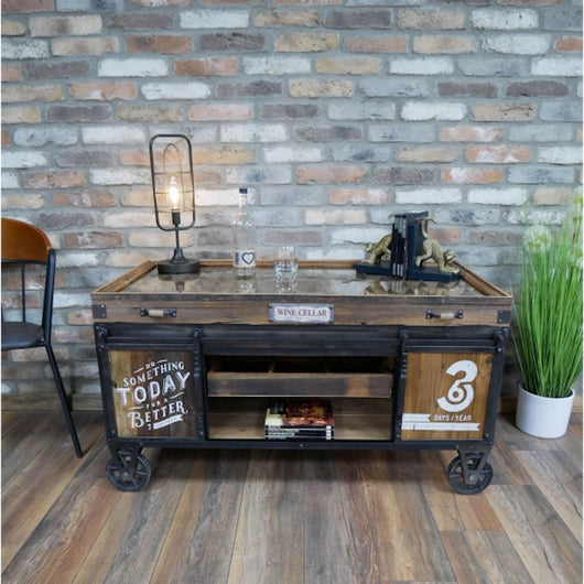 Rustic Industrial Style Coffee Table Coffee Table Candle and Blue Interiors