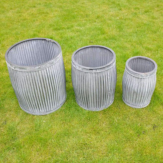 Set 3 Galvanised Barrel Dolly Tub Garden Planters PotPlanters Candle and Blue