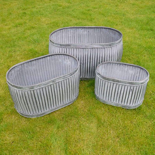 Set of 3 Galvanised Vintage StylePot Plant Holders Gardening Accessories Candle and Blue