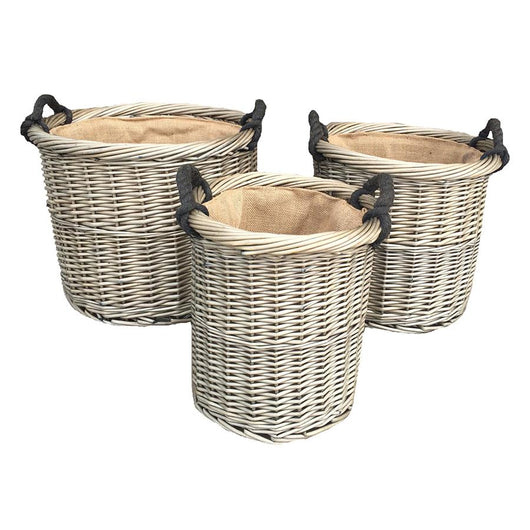 Set of 3 Willow Log Baskets Log Baskets Candle and Blue