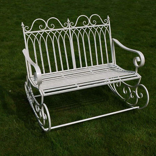 Shabby Chic Cream Outdoor Garden Rocking Bench Seat For 2 Garden Furniture Candle and Blue
