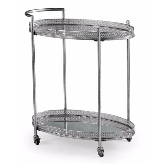 Silver Style Metal Drinks Tea Serving Trolley Coffee Table Candle and Blue Interiors
