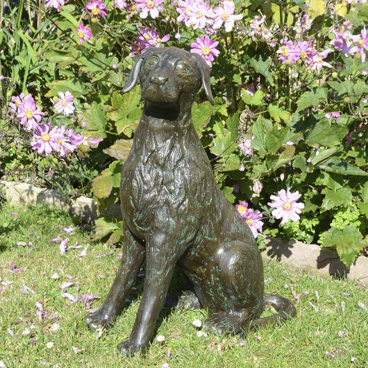 Sitting Dog Garden Statue Garden Sculptures Candle and Blue Interiors