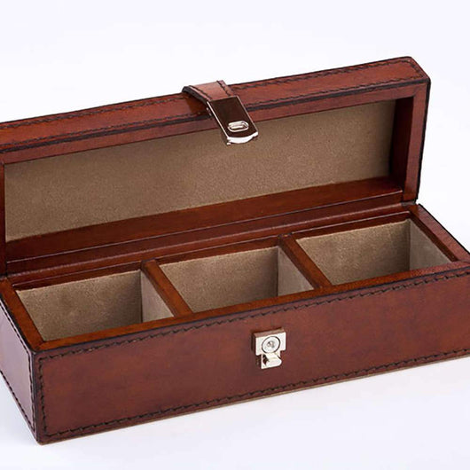 Small Leather Cufflink Box Leather Storage Candle and Blue
