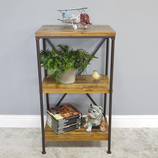 Small Modern Industrial Wooden Shelves Storage Units Candle and Blue Interiors