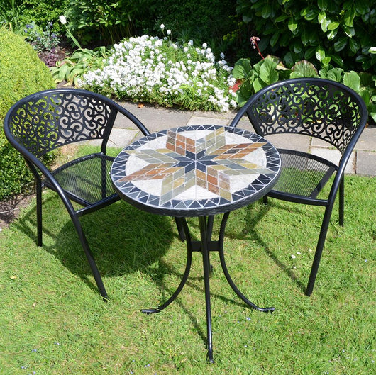 Small Patio Montilla 60cm Table & Chair Garden Dining Set Garden Furniture Candle and Blue Interiors