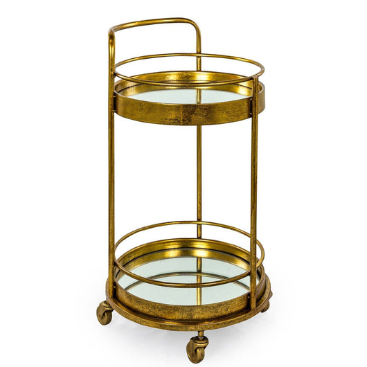 Small Round Mirrored Antique Gold and Bronze Leaf Drinks Trolley End Tables Candle and Blue Interiors