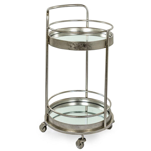 Small Round Mirrored Silver Leaf Drinks Trolley End Tables Candle and Blue Interiors