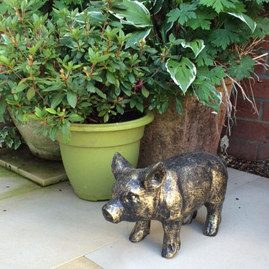 Small Standing Piglet Garden Ornament Garden Sculptures Candle and Blue
