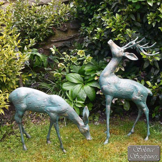 Small Standing Stag and Doe Sculptures Garden Sculptures Candle and Blue