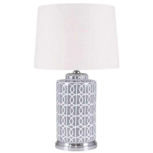 Stylish Tall Grey And White Ceramic Table Lamp And Shade Lighting Candle and Blue
