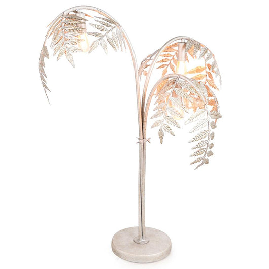 Tall Antique Silver Palm Leaf Lamp Lighting Candle and Blue Interiors