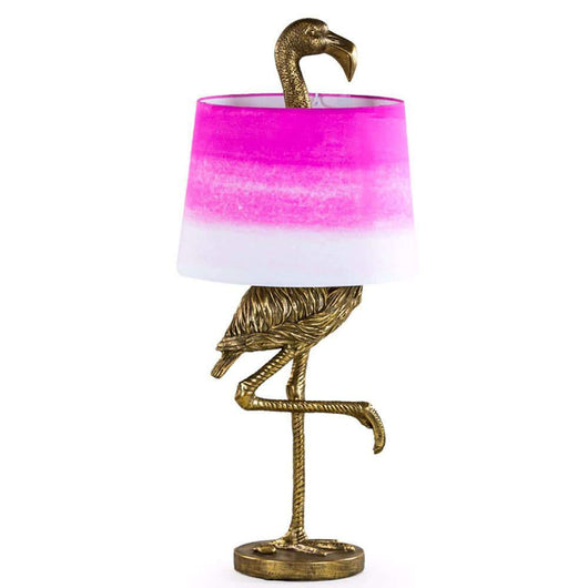 Tall Flamingo Table Lamp With Pink/White Shade Lighting Candle and Blue