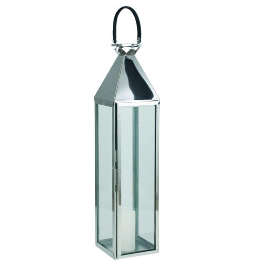 Tall Glass Nickel Stainless Steel Large Hurricane Lantern Home Decor Candle and Blue Interiors