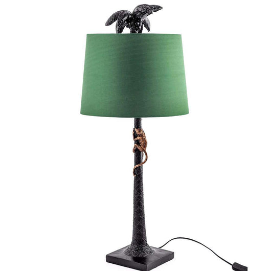 Tall Palm Tree Table Lamp And Green Shade Lighting Candle and Blue