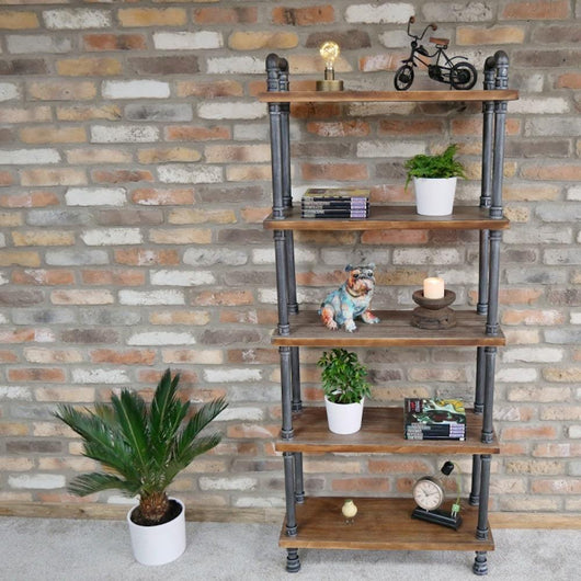 Tall Pipe Detail Shelving Unit Industrial Style Candle and Blue Interiors