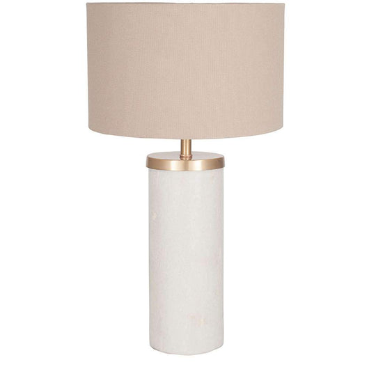 Tall Solid Marble Table Lamp & Taupe Shade Lighting Candle and Blue