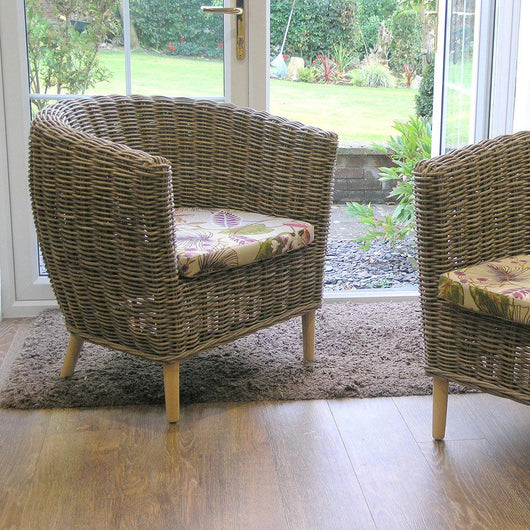 Tuscany Rattan Tub Conservatory Chair Small Conservatory Furniture Candle and Blue Interiors
