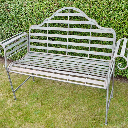 Verdigris Metal Scrolled Garden Bench Gardening Furniture Candle and Blue Interiors