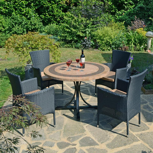 Vermont Patio Dining Set 4 Outdoor furniture Candle and Blue Interiors