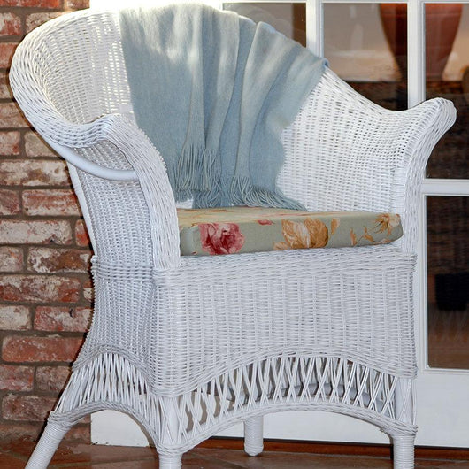 White Wicker Loom Style Chair Conservatory Furniture Candle and Blue