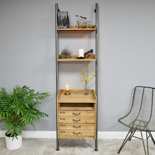 Wood And Metal Tall Hallway Ladder Shelving Drawer Unit Industrial Style Candle and Blue Interiors