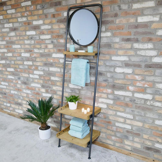Wooden Ladder 3 Tier Shelves With Mirror Industrial Style Candle and Blue Interiors
