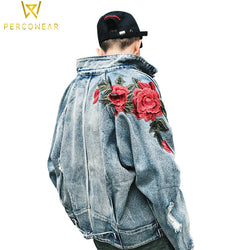 Ovesized Embroidered Rose Denim Jacket - PercoWear
