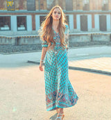 Boho Print Chiffon Maxi Dress - PercoWear