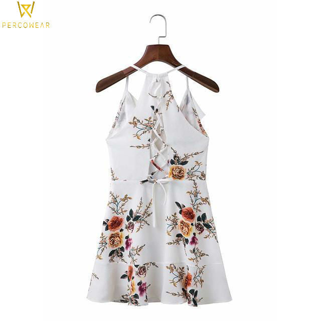 Floral Layered Backless Summer Dress - PercoWear