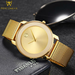 Gold Plated Steel Quartz Watch - PercoWear