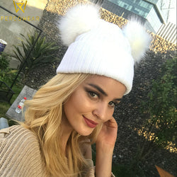 Double Faux Fur PomPom Hat - PercoWear