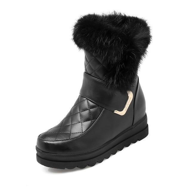 Leather Platform Snow Boots - PercoWear
