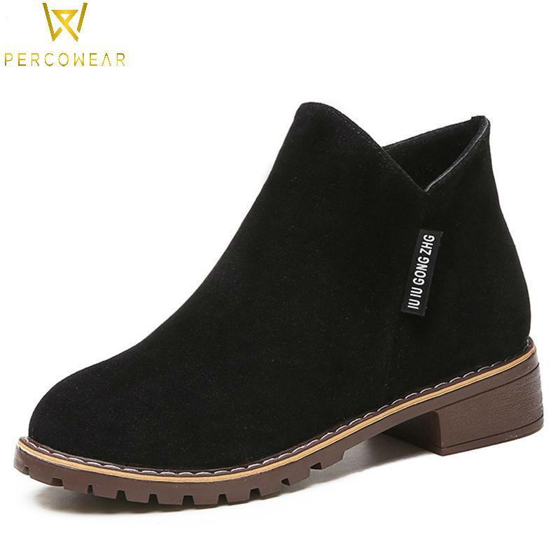 Faux Suede Ankle Boots - PercoWear