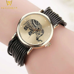 Elephant Picture Bracelet Watch with Leather Strap - PercoWear
