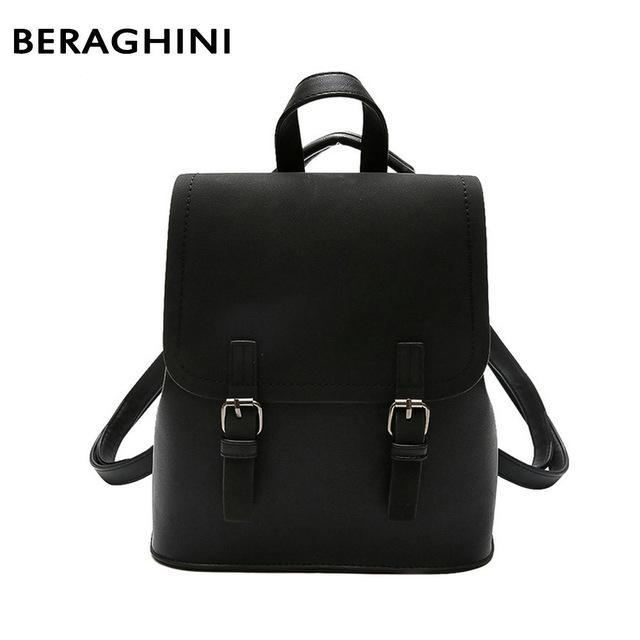 Backpacks Black Luxury Faux Leather Backpack BERAGHINI Factory Store