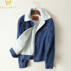 Long Sleeve Faux Lambswool Denim Jacket - PercoWear